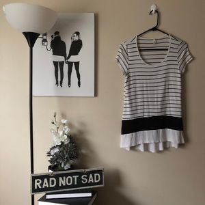 🌸Studio Y black and white striped long tee